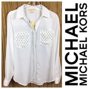 Michael Kors Women Top White Long Sleeve SZ: L, M